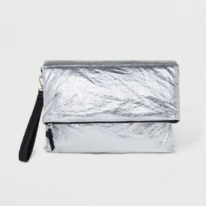 NWOT Wild Fable Silver Metallic Parachute Wristlet